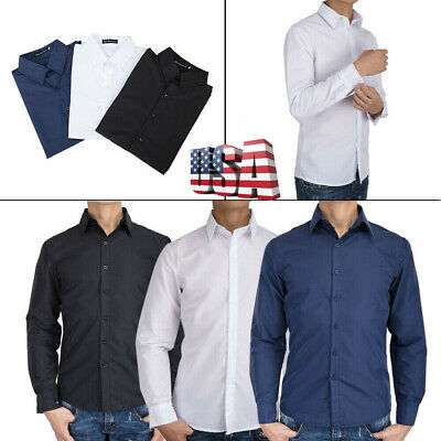 $10.99 • Buy Men's Slim Fit Long Sleeves Dress Shirts Solid Color Button Formal Slim Shirts