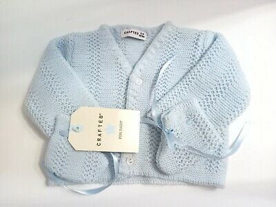 AU7.13 • Buy Unisex Baby Boys Girls 0-3 Months Blue Knit Cardigan Booties Set Outfit Clothes