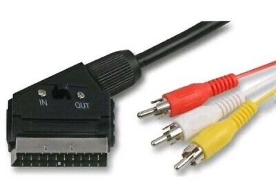 £3.95 • Buy 3M Metre Scart To 3x Phono RCA AV Cable IN OUT Switchable Triple Lead Switch