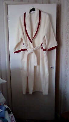 Marks And Spencer Light Cream Towelling Dressing Gown With Tartan Coloured Trim  • 25£