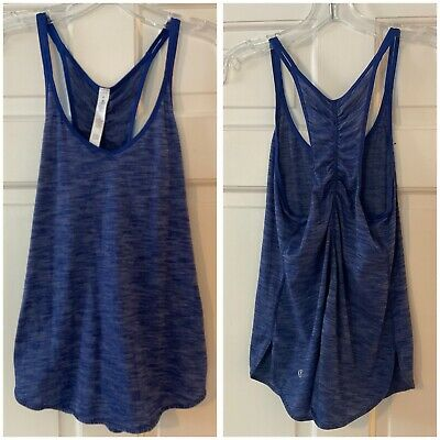 $ CDN30.17 • Buy Lululemon Tank Top Blue Space Dye Ruched Racerback Workout Yoga Sleeveless 4
