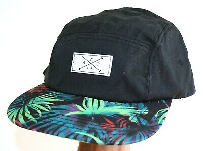 AU8.99 • Buy Unisex AMERICAN EAGLE 5 Panel Cap Black & Tropical Print Strap Back SAMPLE NEW