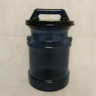 $33.95 • Buy Milk Can Canister Clear Blue Glass With Lid