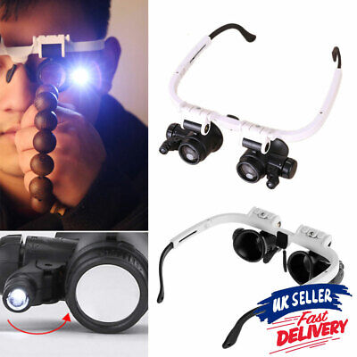 £6.45 • Buy Watchmaker Light 2LED Lamp Magnifying Glass Loupe Jeweler Magnifier Head-Mounted