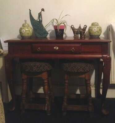 £180 • Buy Vintage Mahogany Narrow Hall Console Side Table  Drawer Carved Cabriole Legs
