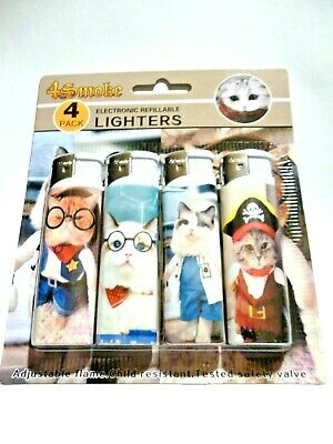 £2.80 • Buy 4 Pack Of Electronic Refillable Lighters Crazy Cat Design