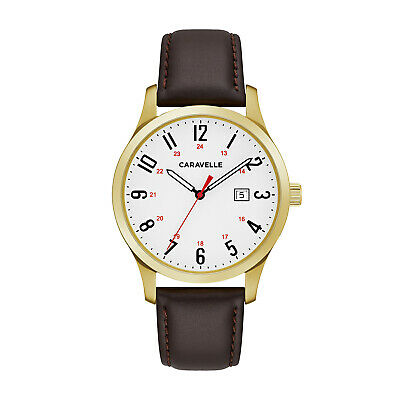 $21.99 • Buy Caravelle Men's Quartz Gold-Tone Date Indicator Brown Leather 40mm Watch 44B116