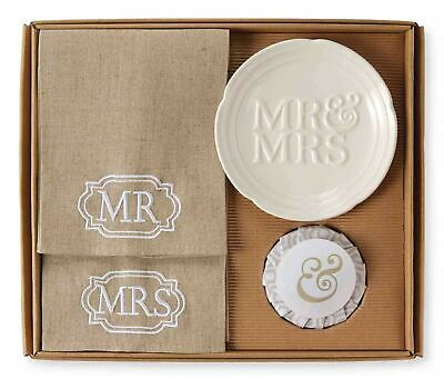 £26.97 • Buy Mud Pie Mr And Mrs Embroidered Guest Towels And Soap Dish Bathroom 4 Piece Set