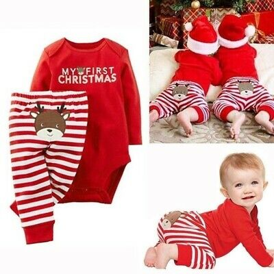 £7.29 • Buy MY FIRST CHRISTMAS Baby Boy Girl Romper Jumpsuit Newborn Infant Outfits Clothes