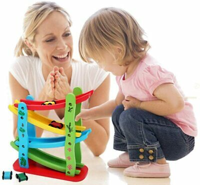 £12.99 • Buy Toddler Toys For 1 2 Year Old Boy Race Track, Gifts Wooden Race Car Ramp +4 Cars
