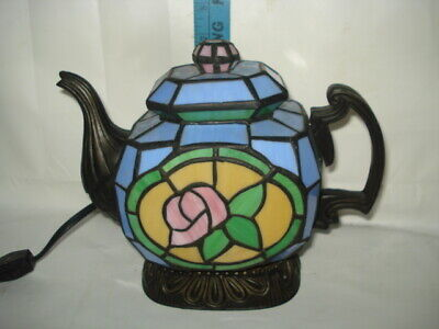 £28.39 • Buy Cheyenne Tiffany Style Stained Glass 9  Teapot Accent Table Lamp Night Light