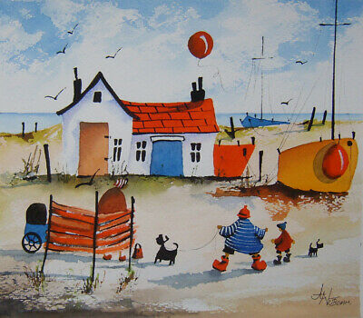 ORIGINAL WATERCOLOUR PAINTING A Perfect Day By The Sea • 9.99£