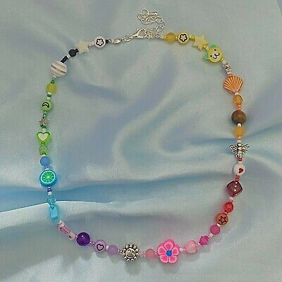 £22.99 • Buy Mismatched Beaded Rainbow Necklace 90's Indie Themed