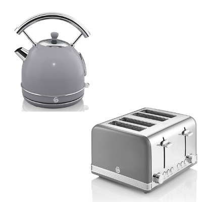 £119.95 • Buy SWAN Retro Dome Kettle & 4 Slice Toaster Vintage Matching Kitchen Set Grey