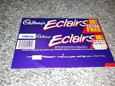 £8 • Buy Vintage Sweets Wrapper. Cadbury's Chocolate Eclairs 1986