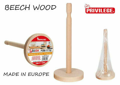 £3.99 • Buy Beech Wood Kitchen Towel Paper Roll Holder Stand Rack 32CM TALL