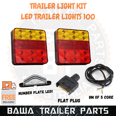 AU47.95 • Buy Led 100 Trailer Lights Kit 7 Pin Flat Plug Number Plate Light 5 Core Cable Wire