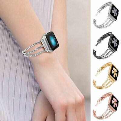 $ CDN15.13 • Buy Luxury Stainless Steel Crystal Watch Band Bracelet For IWatch 6/5/4/3 WatchChain