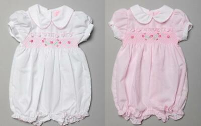 £9.59 • Buy 2021 Baby Girls Spanish Style Romany Smocked Romper Suit Outfit Pink Or White