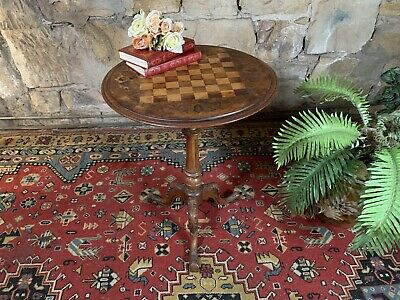 AU101 • Buy Superb Antique Walnut Inlaid Chess Table~Games,Wine Or Lamp Table~circa 1880s