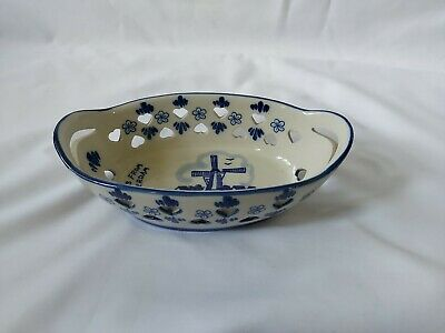 £14.99 • Buy Delft Windmill Small Oval Handled Bowl. Pierced Heart Shape Hand Blue White