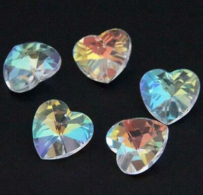 £2.59 • Buy 10 PENDANT HEART FACETED CUT GLASS CRYSTAL BEADS 14mm CLEAR AB LUSTRE
