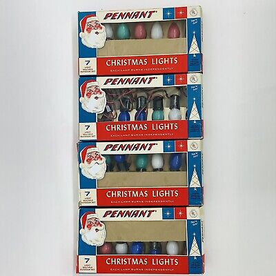 $ CDN48.51 • Buy 4 Sets Vintage Pennant Outdoor Christmas Lights 7 Original Box *Working
