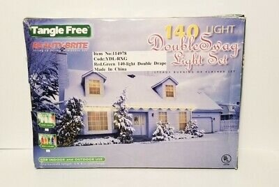 $ CDN27.16 • Buy New Vintage 140 Double Swag Christmas Lights 6 Ft White Wire Red & Green Lights