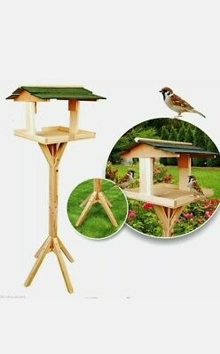 £19.97 • Buy Traditional Bird House Table Free Standing Wooden Feeding Station Green Roof