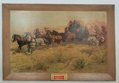 $ CDN163.78 • Buy Large Vintage 1952 Budweiser Attack On The Overland Stage Print Beer Sign 42x28