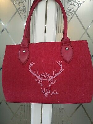 £15 • Buy Ness Bag  Woven Wool Tweed Checked Trim, Stag On The Front VGC Style Is 'Albert'