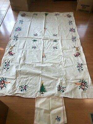 $ CDN18.20 • Buy Vintage Cotton Muslin Embroidered Christmas Tablecloth And 4 Dinner Napkins