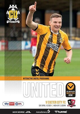 £2.99 • Buy Cambridge United V Exeter City Saturday 10th April 2021