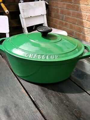 £15 • Buy Vintage Chasseur Cast Iron Oval Enameled Casserole Dish (Like Le Creuset) French