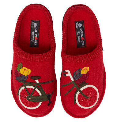 £54.96 • Buy HAFLINGER Bicycle Comfort SLIPPERS 37 6 Red Boiled WOOL NEW