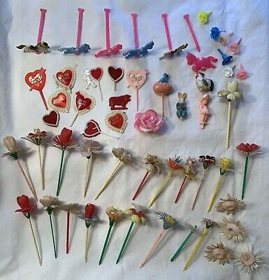 £8.85 • Buy VINTAGE CAKE CANDLE HOLDERS PLASTIC ROSE FLOWERS 1950s 1970s Carousel Vale