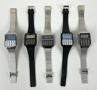 $ CDN0.93 • Buy Group Lot Of 5 X Vintage 1980s Calculator Watches W. LCD Display