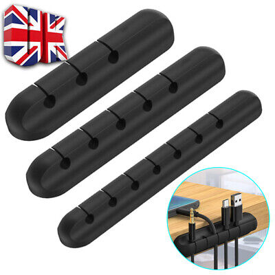 £2.28 • Buy Cable Wire Clips Ties Organiser Desk USB Charger Cables Holder Tidy Black New