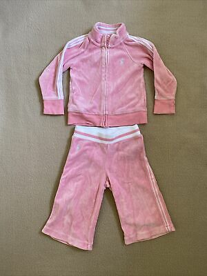 £12 • Buy Ralph Lauren Baby Girls Pink Velour Jacket &  Bottoms Tracksuit 12 Months