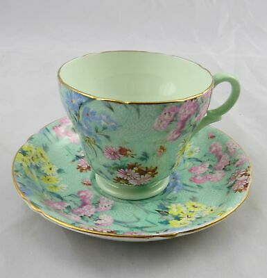 £39.08 • Buy Shelley Melody Chintz 13453 Green Small Cup & Saucer England TM James & Sons