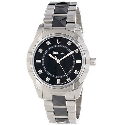 $ CDN9.71 • Buy Bulova Women's Diamond Accent Black And Silver-Tone 32mm Watch 98P136
