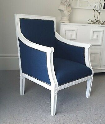 AU320 • Buy Brand New Navy And White Armchair. Jonathan Adler Coco Republic Style Chair