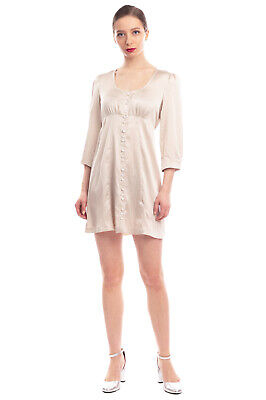AU36.25 • Buy RRP €395 ALEXACHUNG Satin Mini Empire Line Dress Size 8 / S Made In Portugal