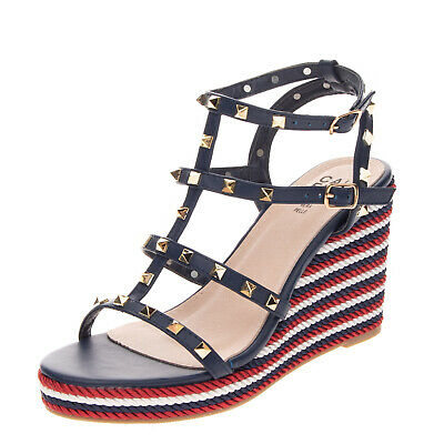 £10.99 • Buy RRP €105 CAFFENERO Strappy Sandals Size 38 UK 5 US 8 Cage Design Studded Heel