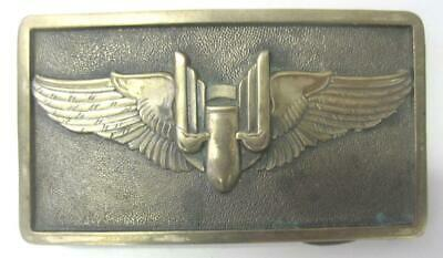 $45 • Buy Ww2 Bomber Wings Solid Brass Belt Buckle Limited Edition 80's Vintage Military