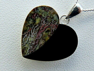 £56 • Buy Whitby Jet Pendant With Cornish Serpentine Plus 20  Sterling Silver Chain