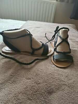 £4 • Buy Asos Black Leather Flat Tie Ankle Sandals Size 6