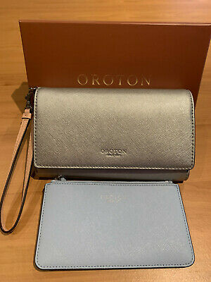 AU89 • Buy Oroton Estate Silver Clutch Wallet With Pale Blue Pouch - Used Once