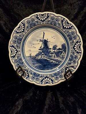 £14.91 • Buy Vintage Delft Blue Windmill Decorative Plate Hand Painted Holland
