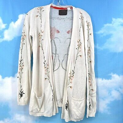 $ CDN43.59 • Buy Anthropologie Guinevere Cotton Cashmere Open Cardigan Sweater Floral Small